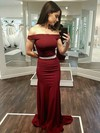 Sheath/Column Off-the-shoulder Jersey Sweep Train Sashes / Ribbons Prom Dresses #Favs020106275