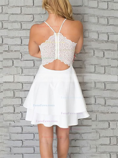 A-line V-neck Chiffon Short/Mini Lace Prom Dresses #Favs020106280
