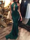 Trumpet/Mermaid Halter Silk-like Satin Sweep Train Prom Dresses #Favs020104527