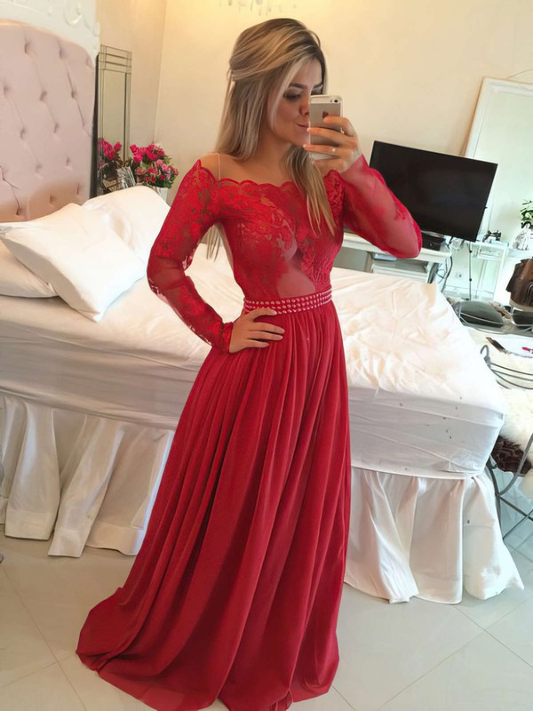 A-line Off-the-shoulder Chiffon Floor-length Appliques Lace Prom Dresses #Favs020102316