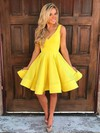 A-line V-neck Satin Short/Mini Prom Dresses #Favs020106283