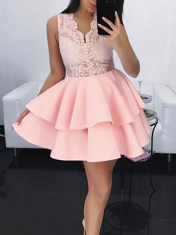 Ball Gown V-neck Lace Satin Short/Mini Lace Prom Dresses #Favs020106284