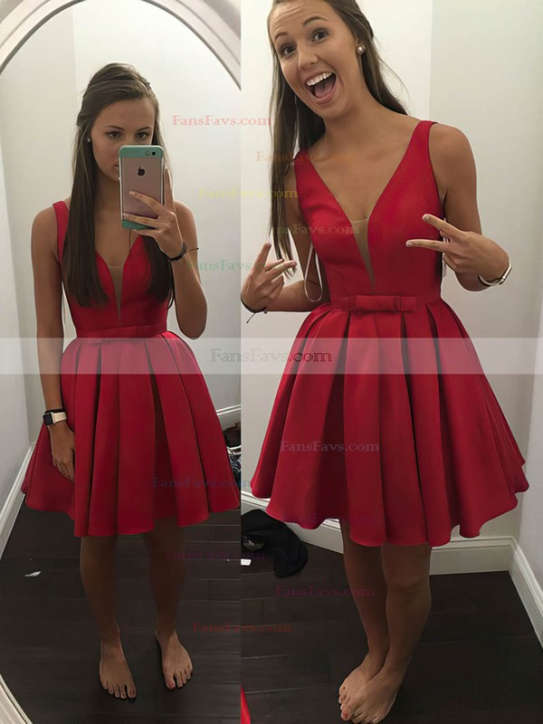 A-line V-neck Satin Short/Mini Bow Prom Dresses #Favs020106286