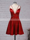 A-line V-neck Satin Short/Mini Pockets Prom Dresses #Favs020106288