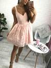 A-line V-neck Lace Short/Mini Lace Prom Dresses #Favs020106289