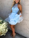 Ball Gown High Neck Organza Tulle Short/Mini Beading Prom Dresses #Favs020106290