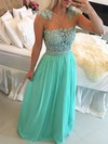 A-line Scoop Neck Chiffon Floor-length Beading Prom Dresses #Favs020102327