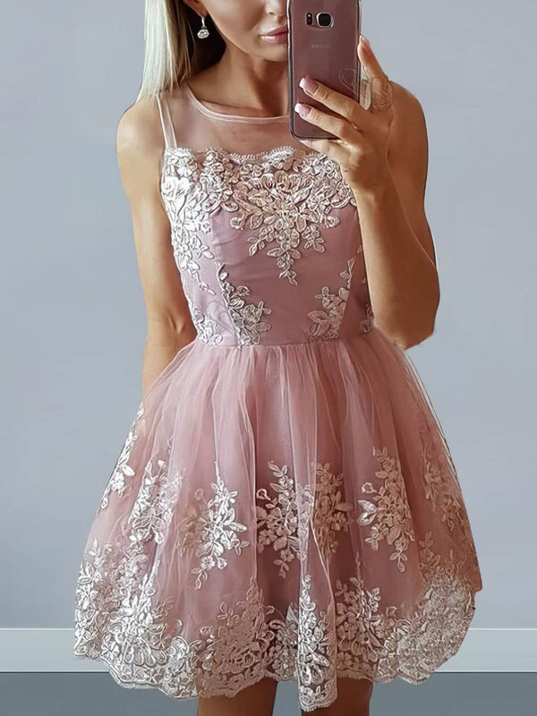 A-line Scoop Neck Tulle Short/Mini Appliques Lace Prom Dresses #Favs020106296