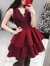 Princess V-neck Lace Satin Short/Mini Tiered Prom Dresses #Favs020106297