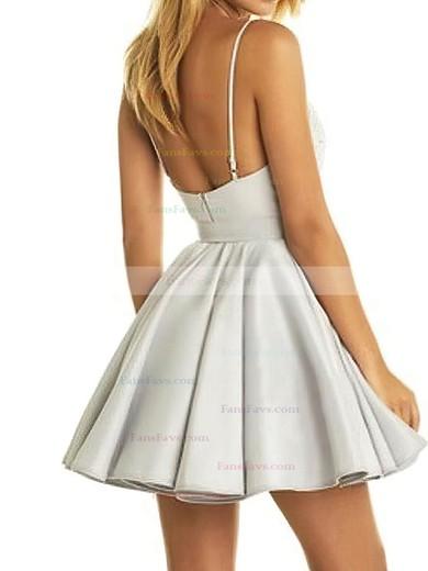 A-line V-neck Satin Short/Mini Lace Prom Dresses #Favs020106298