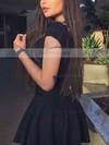 A-line V-neck Satin Short/Mini Appliques Lace Prom Dresses #Favs020106300
