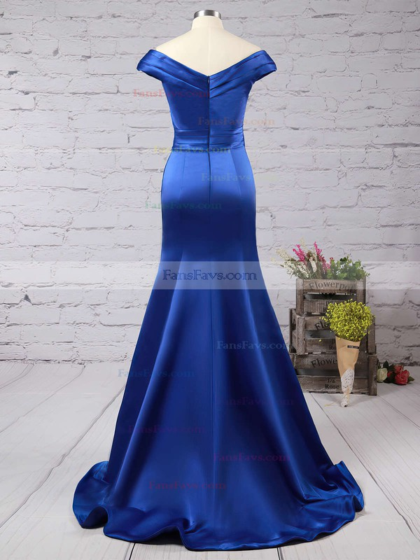 Trumpet/Mermaid Off-the-shoulder Satin Sweep Train Ruffles Prom Dresses #Favs020102331