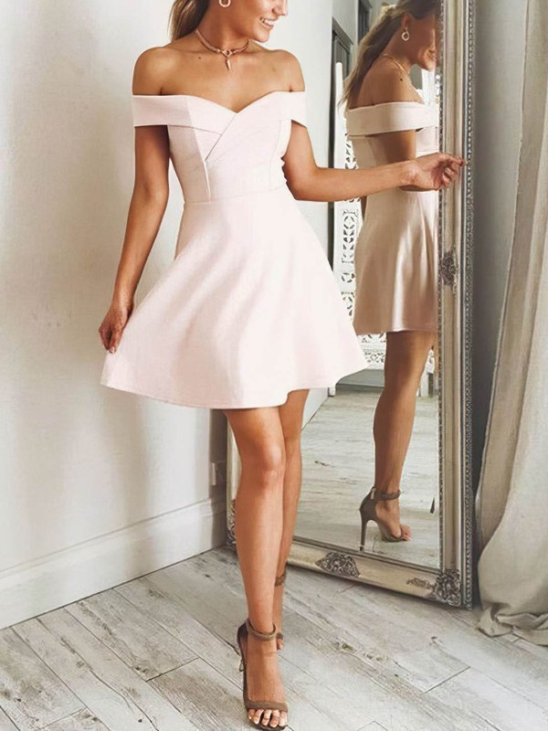A-line Off-the-shoulder Satin Short/Mini Prom Dresses #Favs020106305