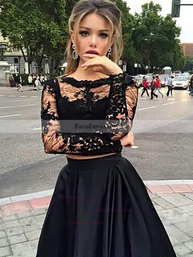 Princess Scoop Neck Lace Satin Floor-length Appliques Lace Prom Dresses #Favs020102335