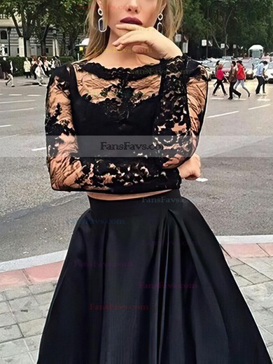 A-line Scoop Neck Floor-length Tulle Satin Prom Dresses with Appliques Lace #Favs020102335