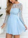 A-line Scoop Neck Lace Chiffon Short/Mini Lace Prom Dresses #Favs020106314