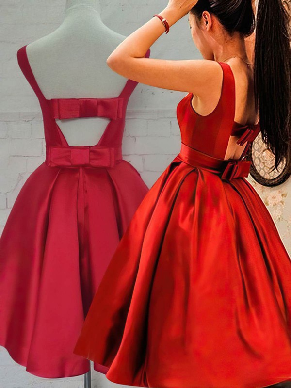 Princess Scoop Neck Satin Knee-length Bow Prom Dresses #Favs020106315