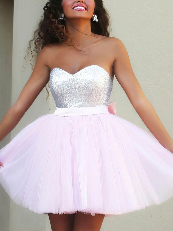 Princess Sweetheart Tulle Short/Mini Beading Prom Dresses #Favs020106317