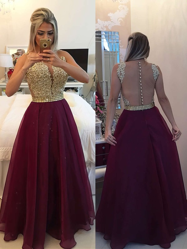 A-line Scoop Neck Chiffon Floor-length Beading Prom Dresses #Favs020102385