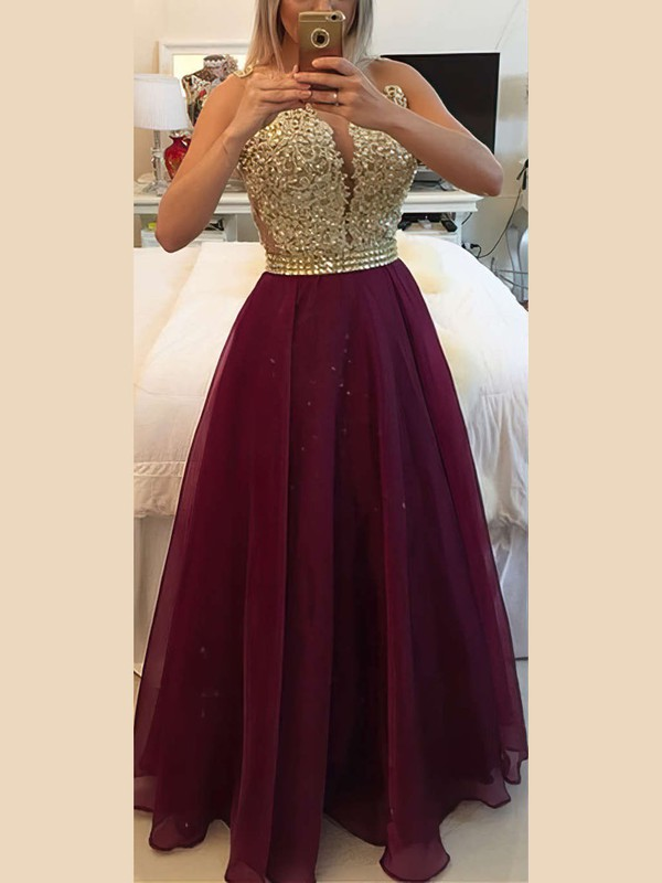 A-line Scoop Neck Floor-length Chiffon Prom Dresses with Appliques Lace Beading #Favs020102385
