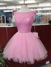 Ball Gown Scoop Neck Lace Tulle Short/Mini Beading Prom Dresses #Favs020106328