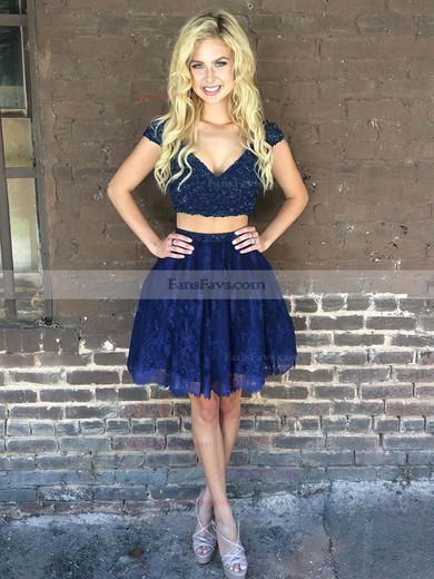 A-line V-neck Lace Short/Mini Beading Prom Dresses #Favs020106329