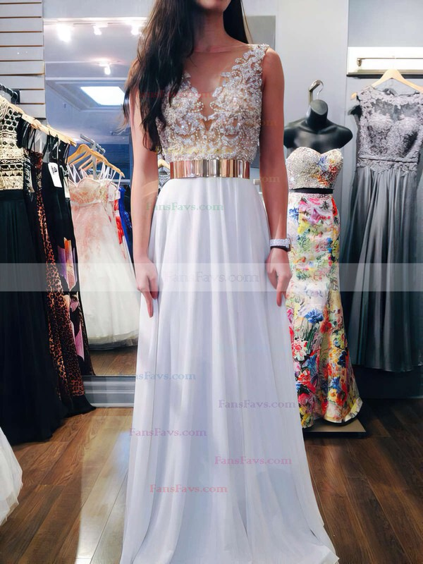 A-line Scoop Neck Floor-length Chiffon Prom Dresses with Beading Sashes #Favs020102388