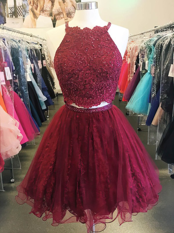 Princess Halter Lace Tulle Short/Mini Beading Prom Dresses #Favs020106333