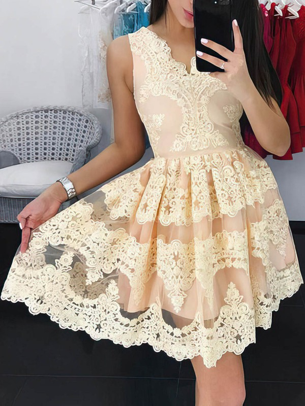 A-line V-neck Lace Short/Mini Prom Dresses #Favs020106334