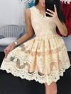 A-line V-neck Lace Short/Mini Prom Dresses #Favs020106334