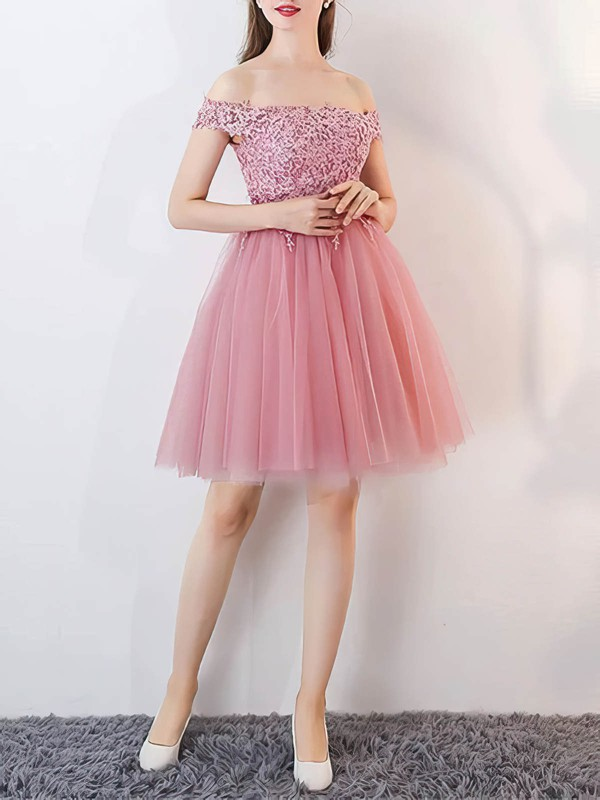 A-line Off-the-shoulder Tulle Short/Mini Appliques Lace Prom Dresses #Favs020106336