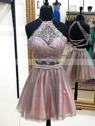 A-line Halter Lace Tulle Short/Mini Beading Prom Dresses #Favs020106342