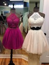A-line Halter Lace Tulle Short/Mini Beading Prom Dresses #Favs020106342