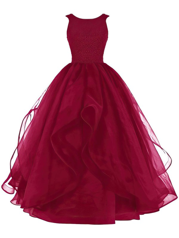 Ball Gown Scoop Neck Floor-length Organza Prom Dresses with Beading #Favs020102390