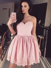 A-line Sweetheart Silk-like Satin Short/Mini Appliques Lace Prom Dresses #Favs020106343