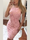 Sheath/Column Halter Lace Short/Mini Prom Dresses #Favs020106347
