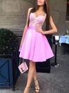 A-line V-neck Satin Tulle Short/Mini Appliques Lace Prom Dresses #Favs020106348
