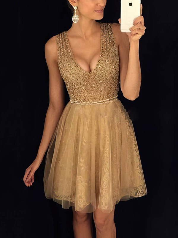 A-line V-neck Lace Tulle Short/Mini Beading Prom Dresses #Favs020106349