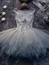 Princess Scoop Neck Tulle Short/Mini Appliques Lace Prom Dresses #Favs020106350
