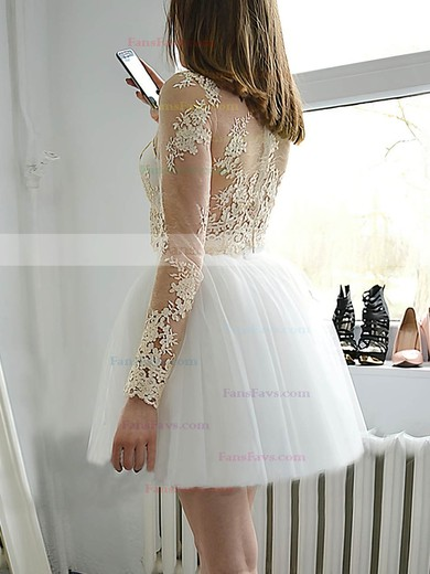 Princess Scoop Neck Tulle Short/Mini Appliques Lace Prom Dresses #Favs020106351
