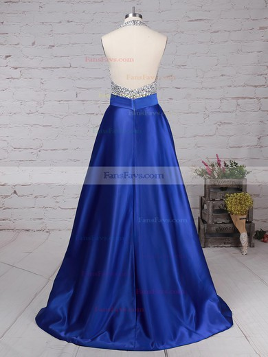 Ball Gown Halter Floor-length Satin Tulle Prom Dresses with Beading #Favs020102391