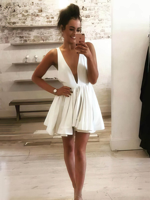 A-line V-neck Silk-like Satin Short/Mini Prom Dresses #Favs020106353