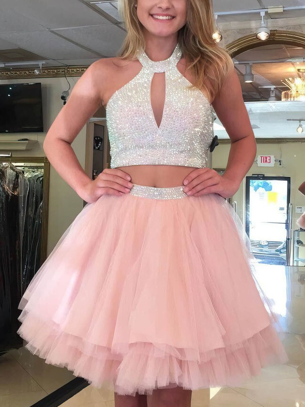A-line Halter Tulle Short/Mini Tiered Prom Dresses #Favs020106359