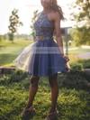 A-line Halter Tulle Short/Mini Beading Prom Dresses #Favs020106363