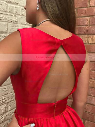 A-line V-neck Satin Short/Mini Ruffles Prom Dresses #Favs020106365