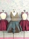 A-line V-neck Taffeta Short/Mini Beading Prom Dresses #Favs020106368