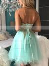 A-line Sweetheart Tulle Short/Mini Beading Prom Dresses #Favs020106369