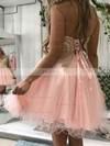 A-line Sweetheart Tulle Short/Mini Beading Prom Dresses #Favs020106369