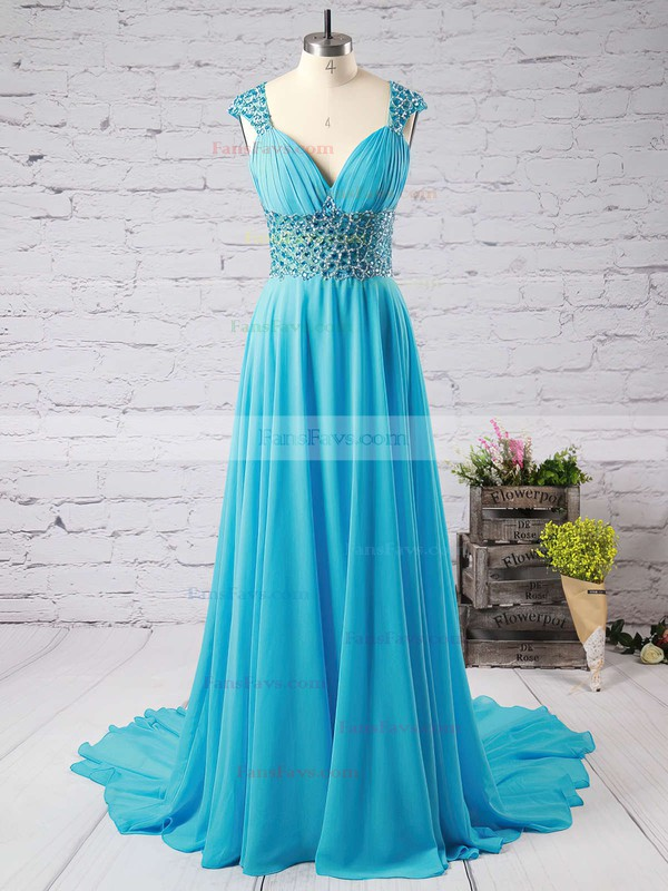A-line V-neck Chiffon Sweep Train Beading Prom Dresses #Favs020102404