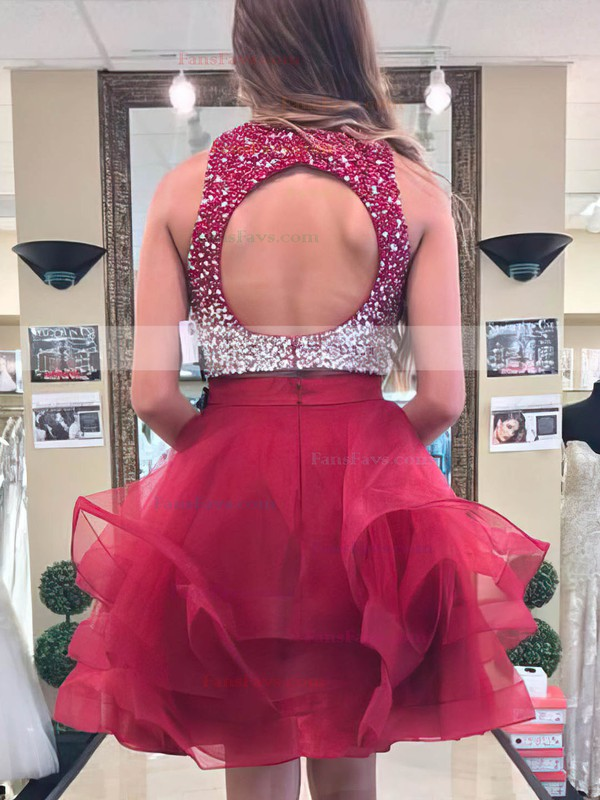 Princess Scoop Neck Organza Short/Mini Beading Prom Dresses #Favs020106377